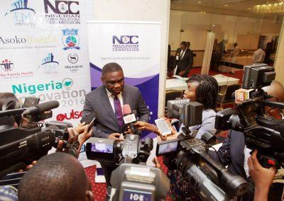 Tony Ojobo of NCC during a press interview